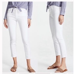 Mother Denim The looker Cropped White Jeans 25